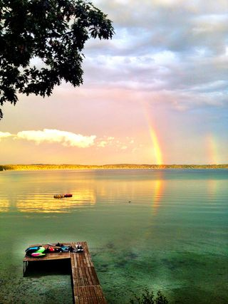 Elk lake double rainbow