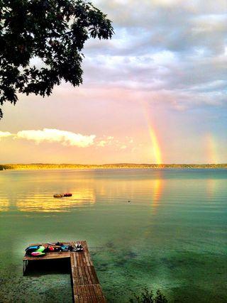Elk lake double rainbow
